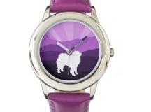 Zazzle samoyed violet mountains watch http://www.zazzle.com/samoyed_stainless_steel_watch_violet_mountains_wrist_watch-256987741087958477?rf=238193063474731397