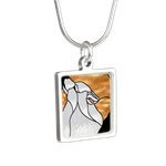 Sammy Howling at the Moon Square Silver Necklace http://www.cafepress.com/nationalsamoyedrescue/13627489